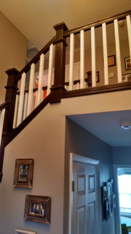 Blond oak to rich java gell stained staircase by Rodney Shambaugh